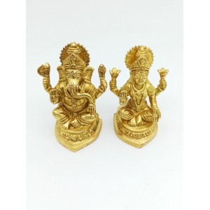 antique  Brass Laxmi & Lord Ganesha Idol 12 cm