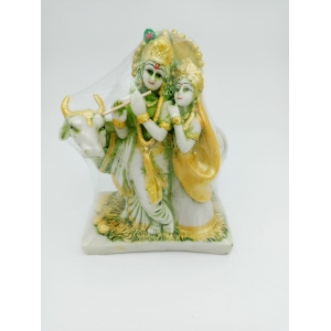 Radha Krishna idol with cow 18 cm