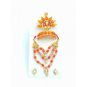 Beautiful Golden orange Stone Mukut Mala Set For  laddu gopal 0,1,2,3