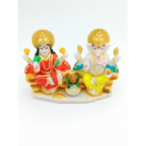 Laxmi & God Ganesh/Ganpati Idol Handicraft marble touch 11cm