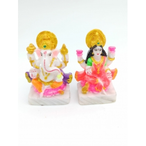 Laxmi Ganesha Idol Handicraft  Murti (Multi-Coloured)-11 cm